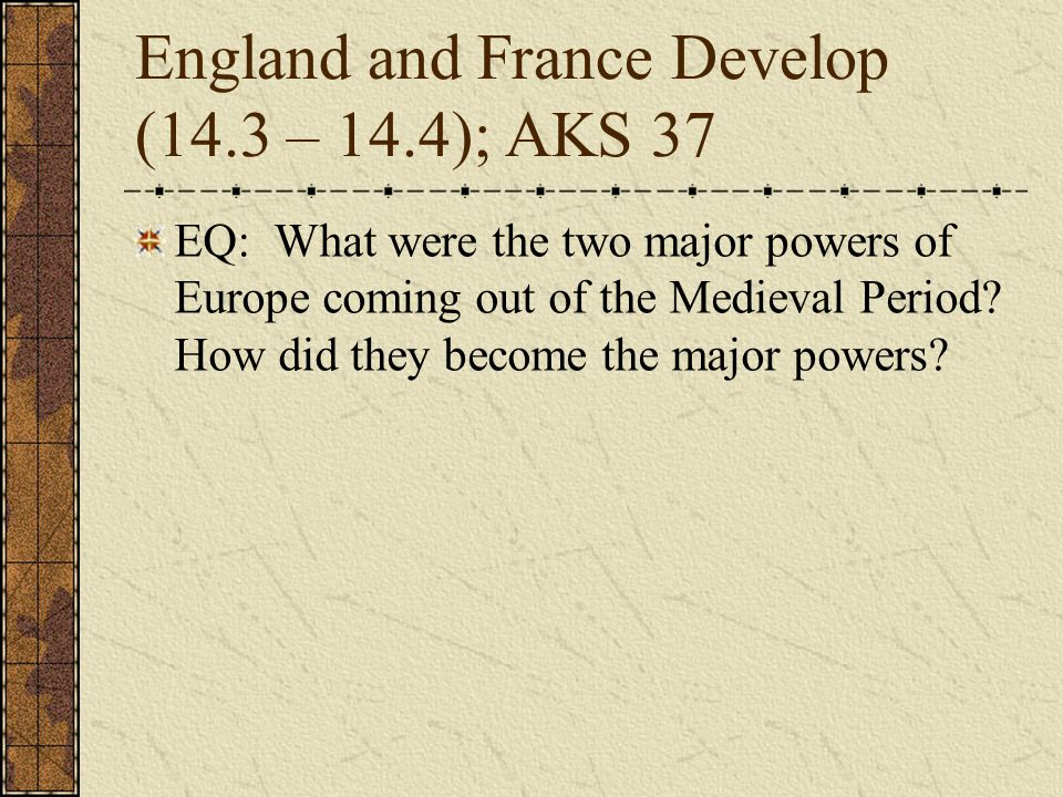 England and France Develop (14.3 – 14.4); AKS 37