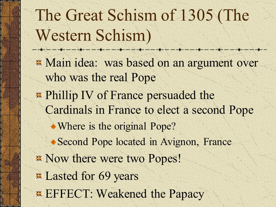 The Great Schism of 1305 (The Western Schism)