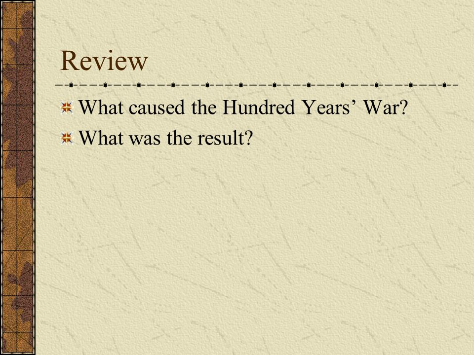 Review What caused the Hundred Years' War What was the result