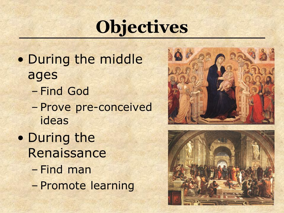 Objectives During the middle ages During the Renaissance Find God