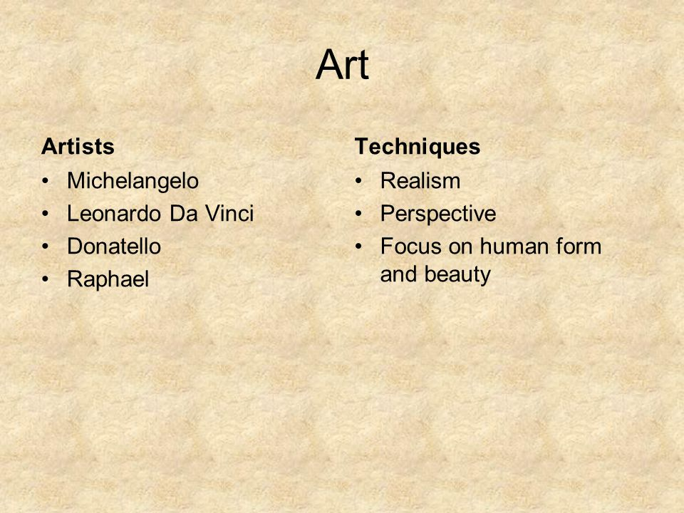 Art Artists Techniques Michelangelo Leonardo Da Vinci Donatello