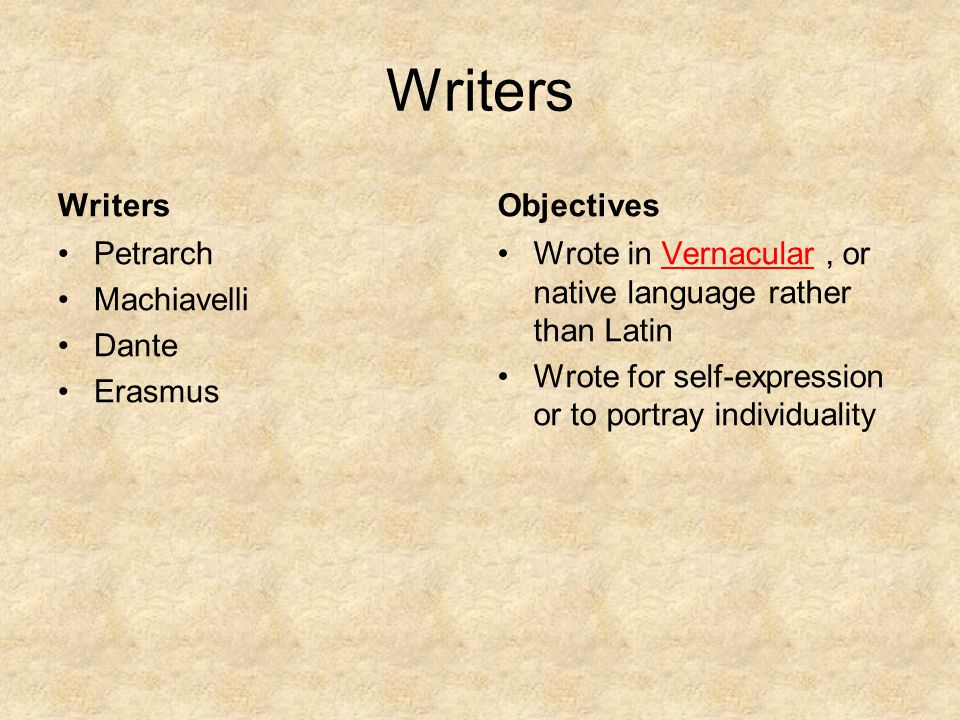 Writers Writers Objectives Petrarch Machiavelli Dante Erasmus