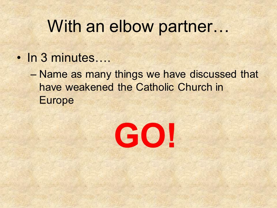 GO! With an elbow partner… In 3 minutes….