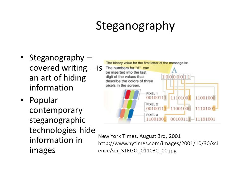 Steganography Steganography – covered writing – is an art of hiding information.