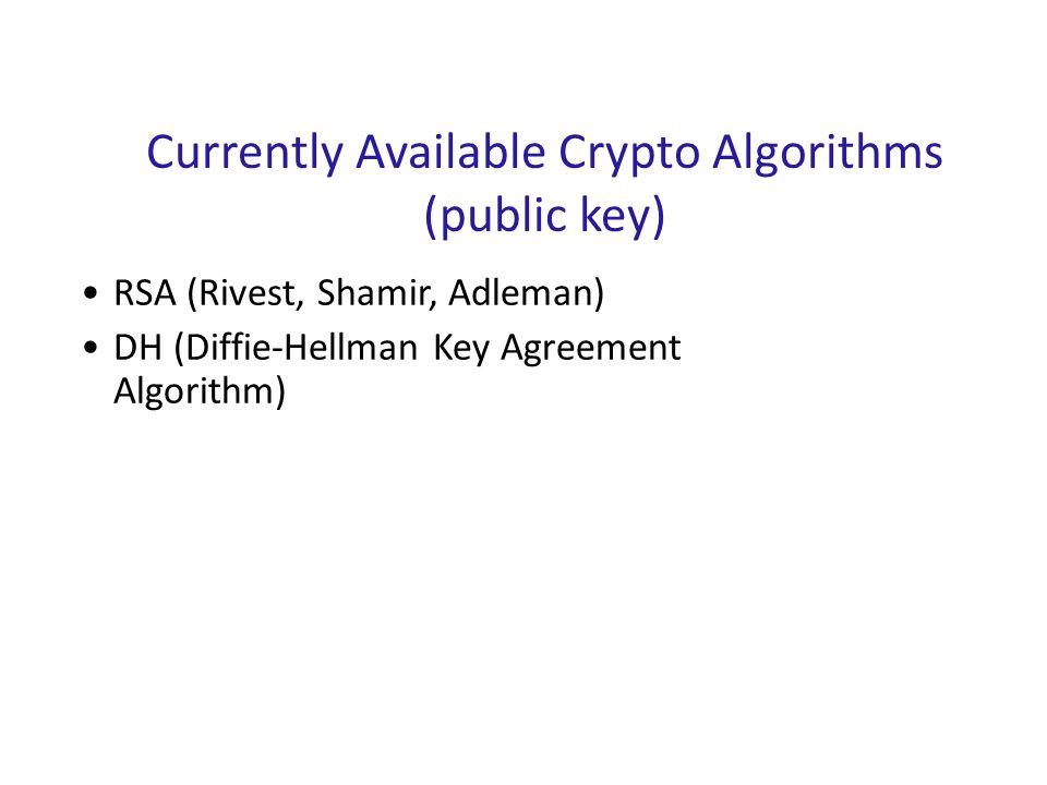 Currently Available Crypto Algorithms (public key)