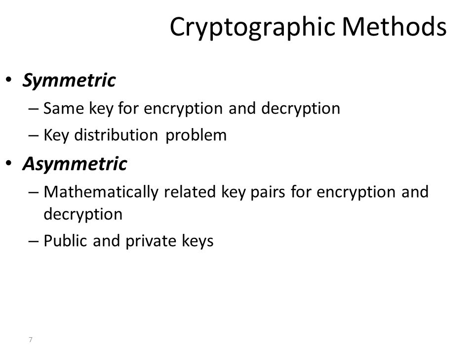 Cryptographic Methods
