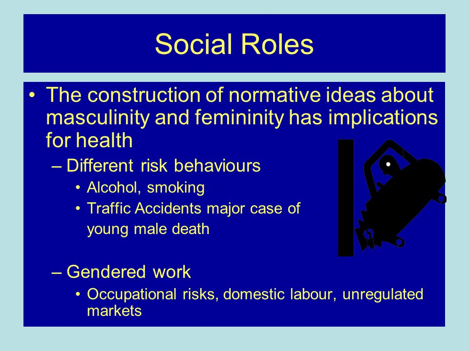 Social Roles The construction of normative ideas about masculinity and femininity has implications for health.