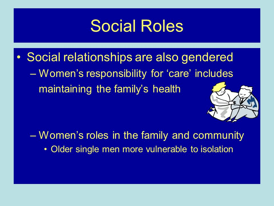 Social Roles Social relationships are also gendered