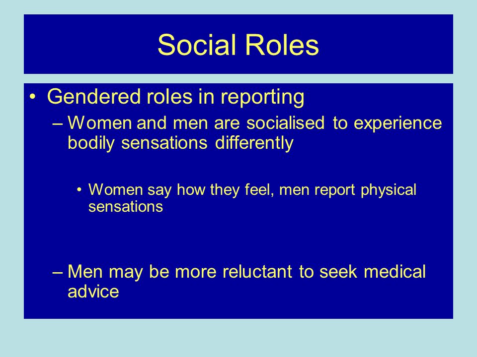 Social Roles Gendered roles in reporting