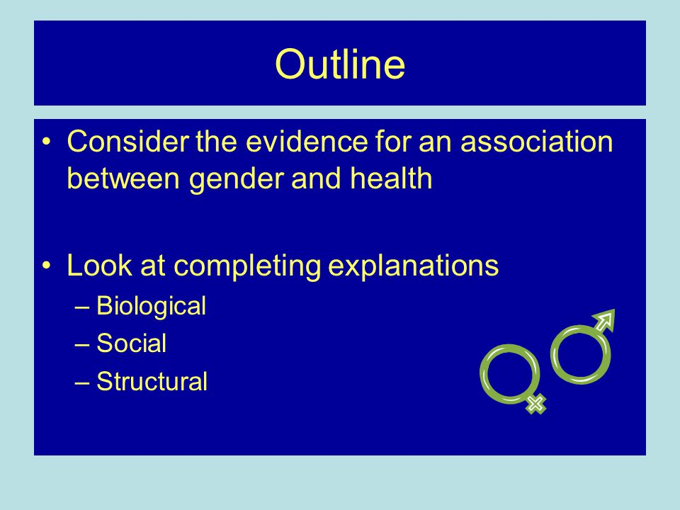 Outline Consider the evidence for an association between gender and health. Look at completing explanations.
