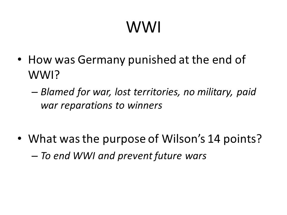 WWI How was Germany punished at the end of WWI