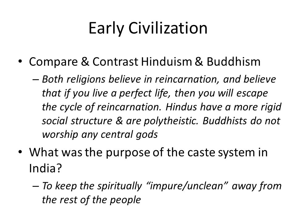 Early Civilization Compare & Contrast Hinduism & Buddhism