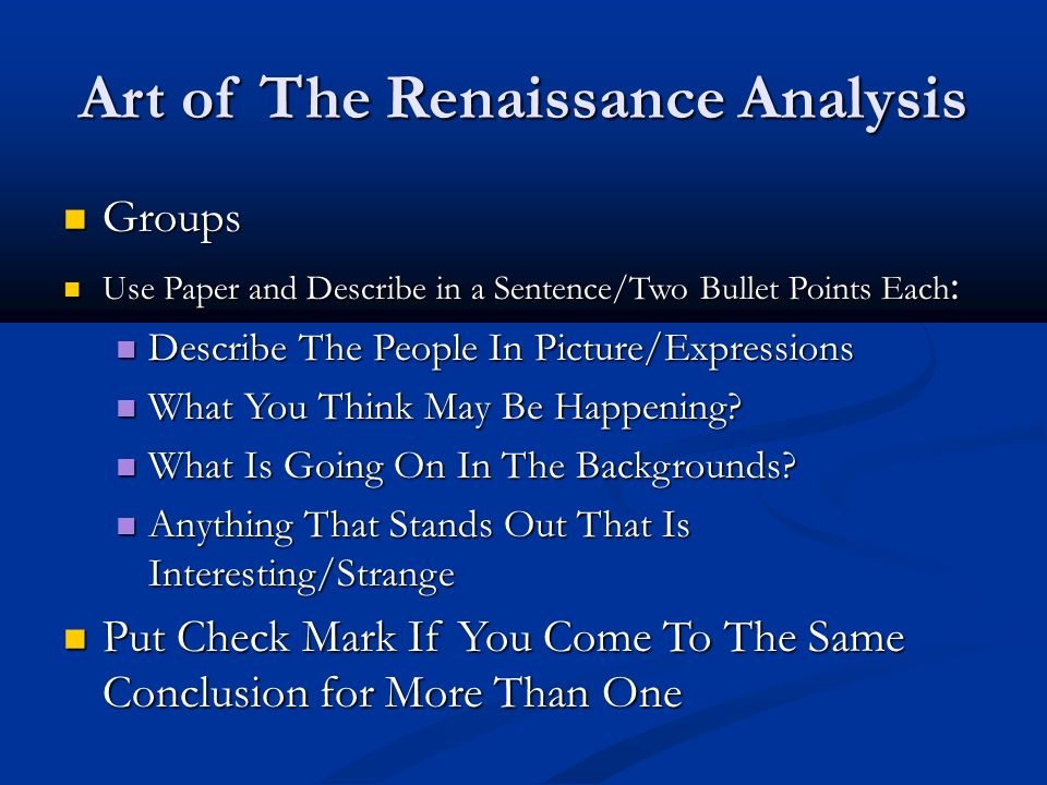 Art of The Renaissance Analysis