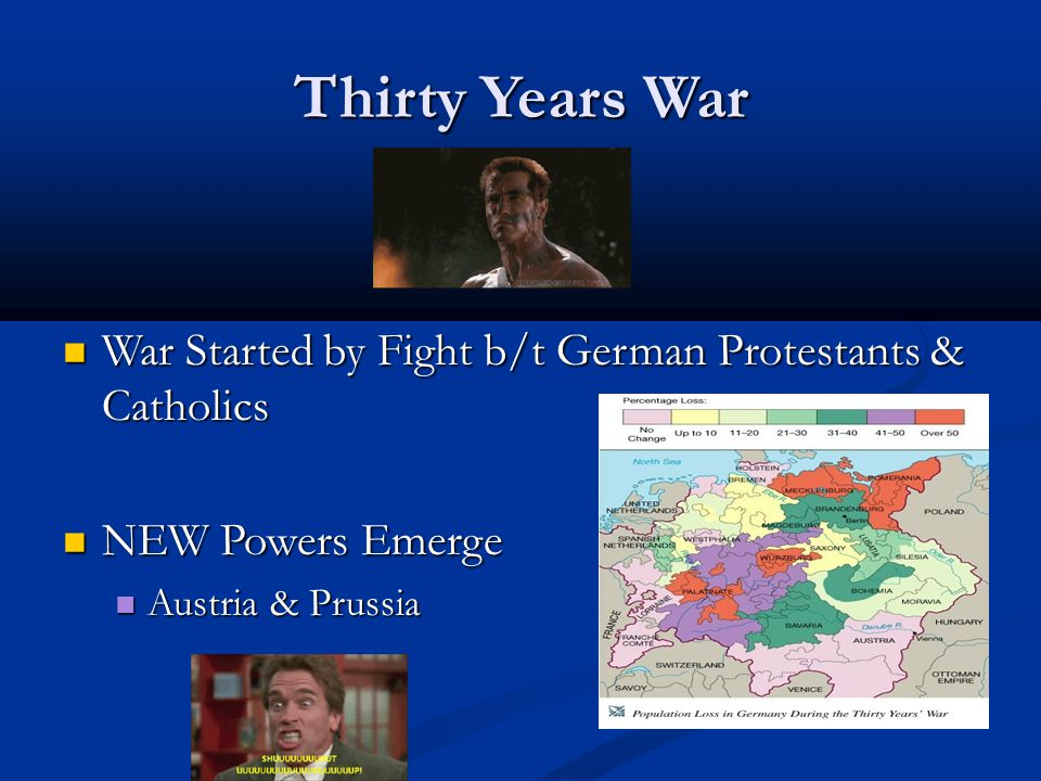 Thirty Years War War Started by Fight b/t German Protestants & Catholics.