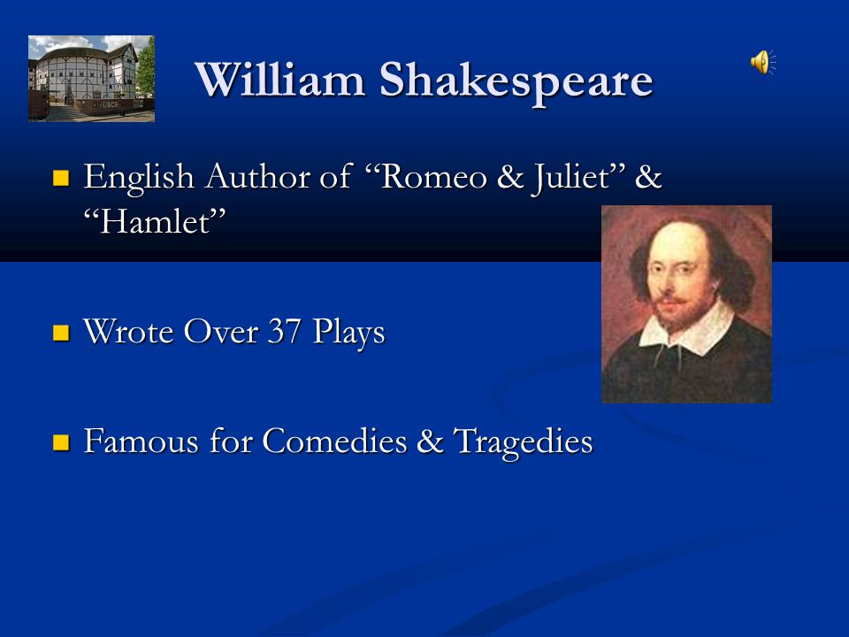 William Shakespeare English Author of Romeo & Juliet & Hamlet