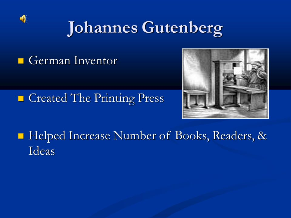 Johannes Gutenberg German Inventor Created The Printing Press