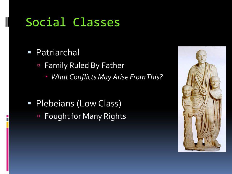 Social Classes Patriarchal Plebeians (Low Class)