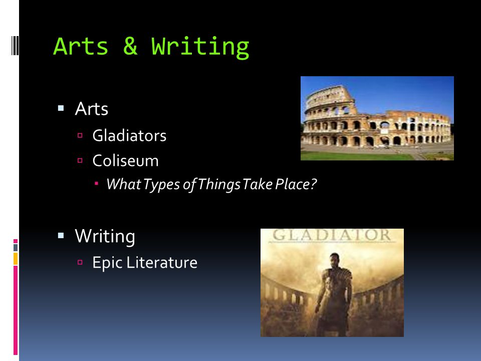 Arts & Writing Arts Writing Gladiators Coliseum Epic Literature
