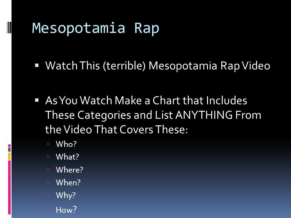 Mesopotamia Rap Watch This (terrible) Mesopotamia Rap Video