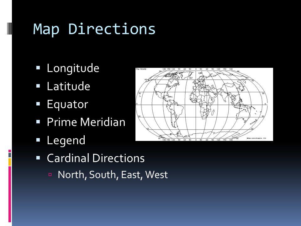 Map Directions Longitude Latitude Equator Prime Meridian Legend