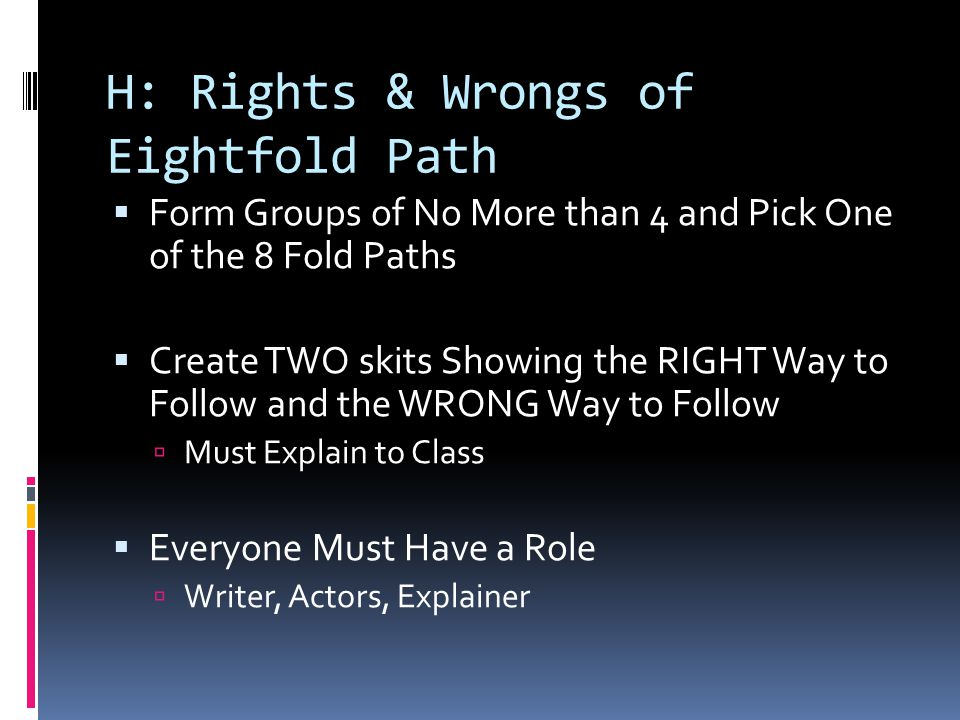 H: Rights & Wrongs of Eightfold Path