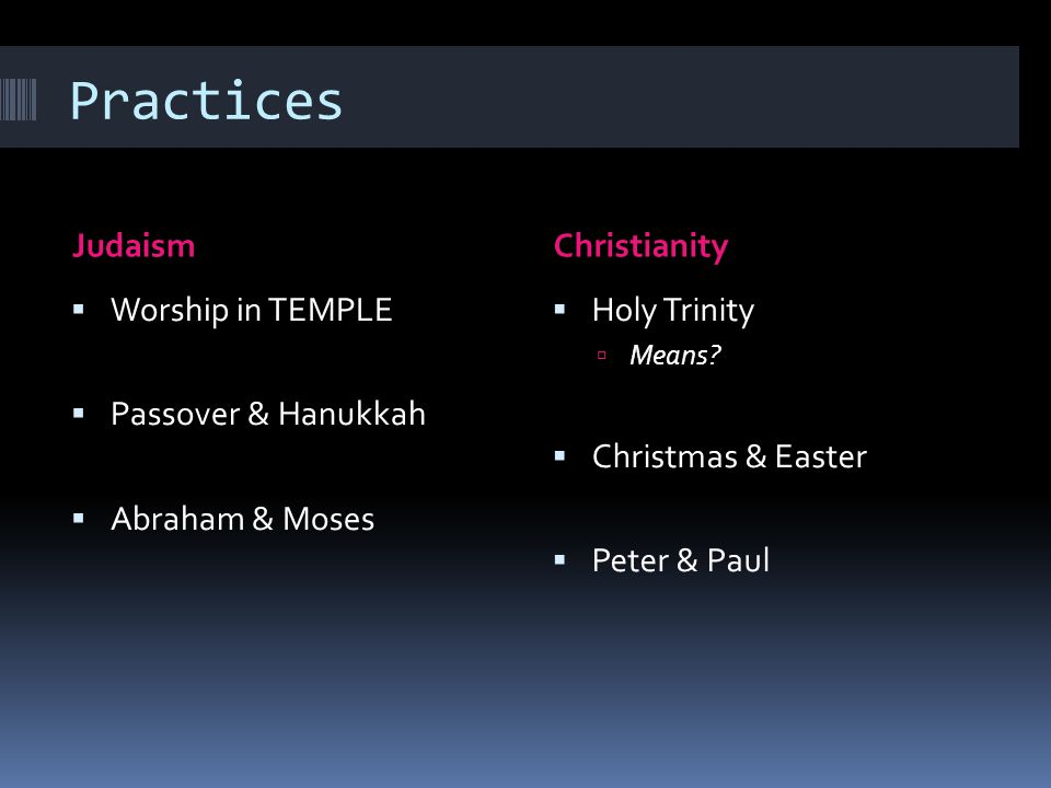 Practices Judaism Christianity Worship in TEMPLE Passover & Hanukkah