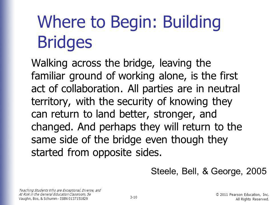 Where to Begin: Building Bridges