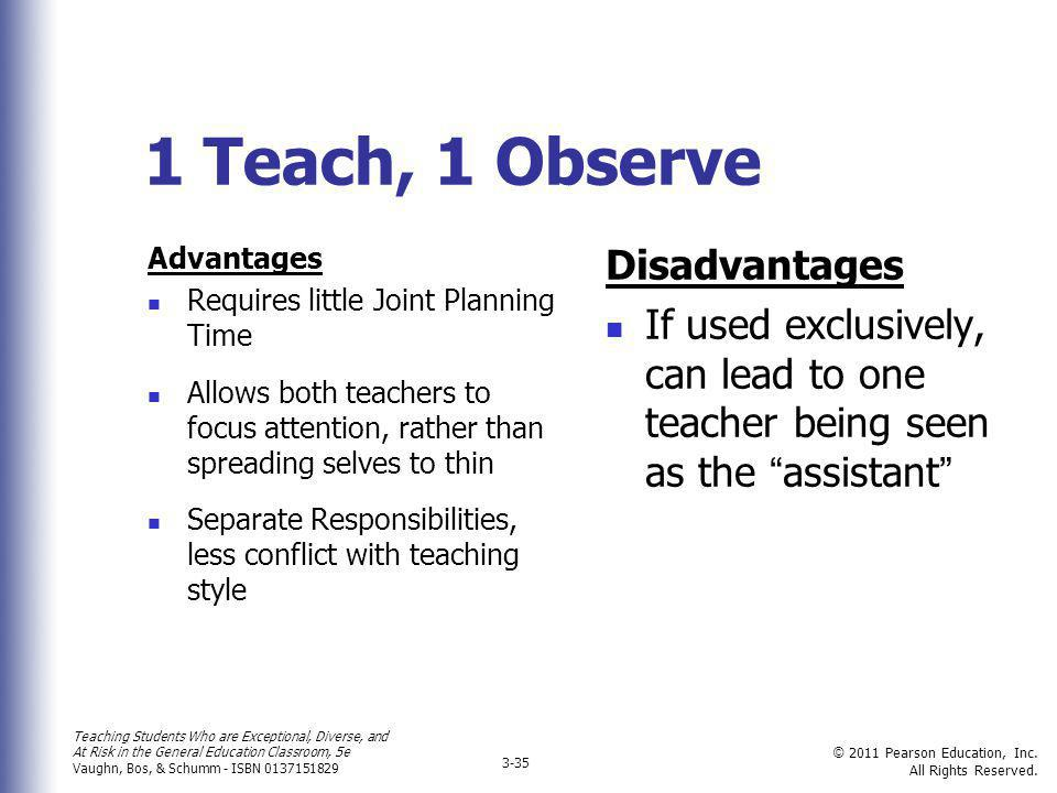 1 Teach, 1 Observe Disadvantages
