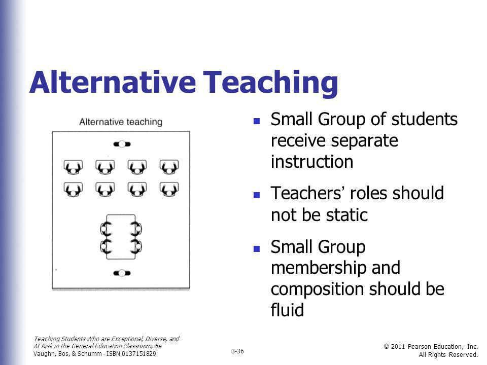 Alternative Teaching Small Group of students receive separate instruction. Teachers' roles should not be static.