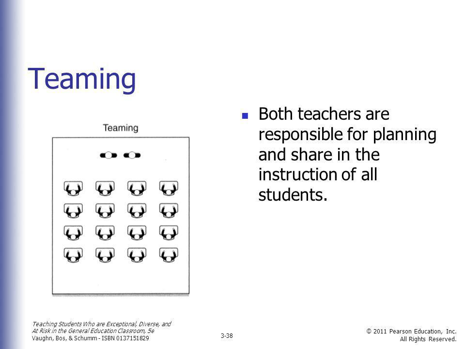 Teaming Both teachers are responsible for planning and share in the instruction of all students.
