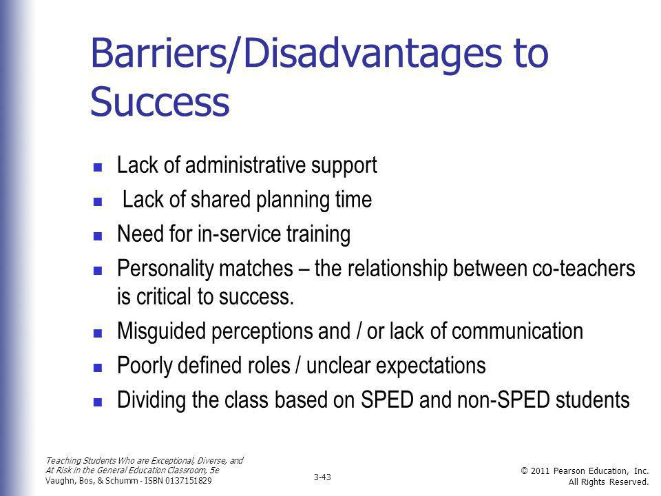 Barriers/Disadvantages to Success