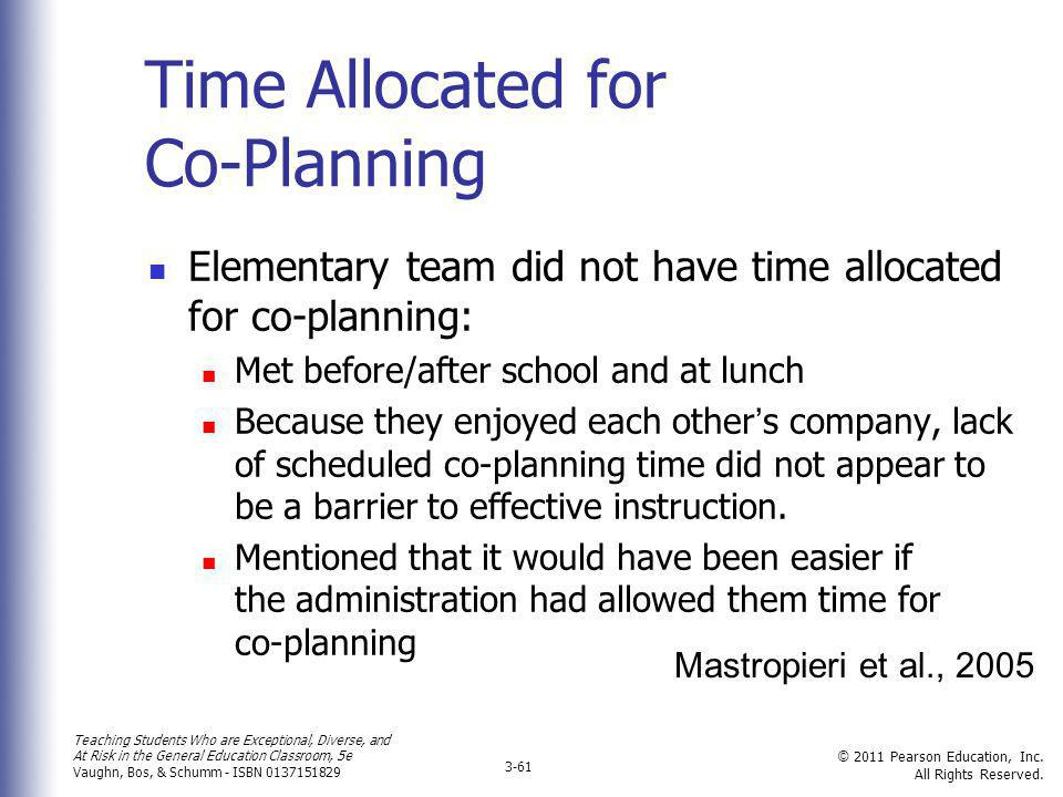 Time Allocated for Co-Planning