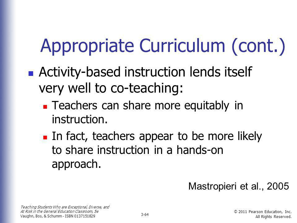 Appropriate Curriculum (cont.)