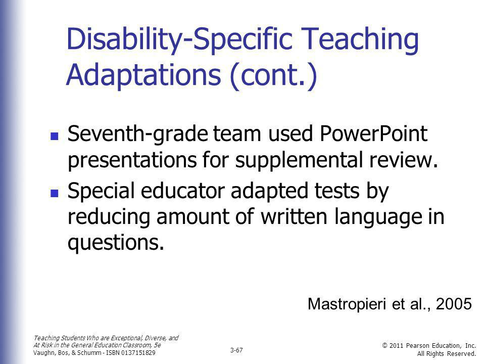 Disability-Specific Teaching Adaptations (cont.)