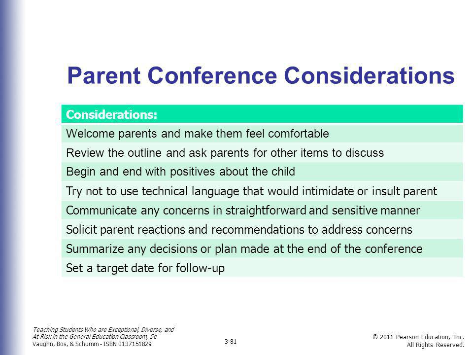 Parent Conference Considerations