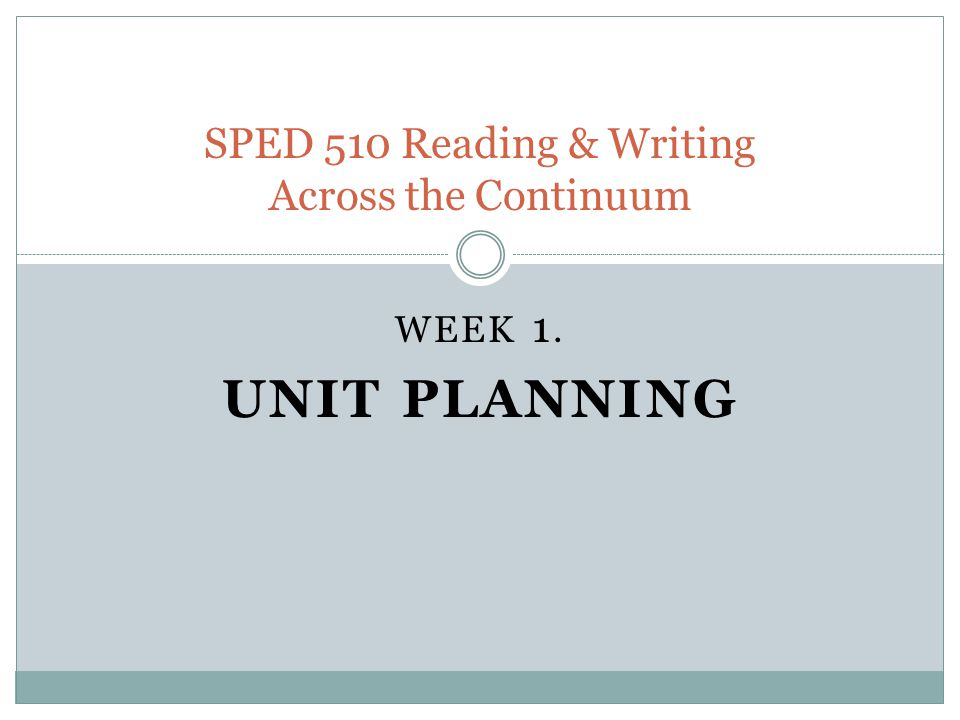 SPED 510 Reading & Writing Across the Continuum