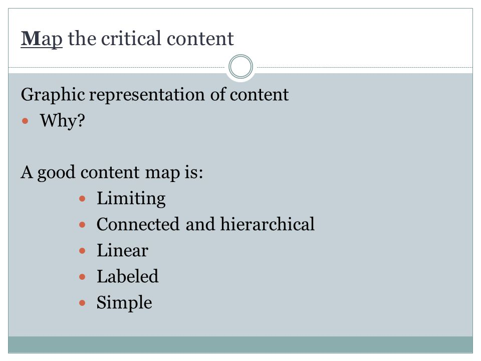 Map the critical content