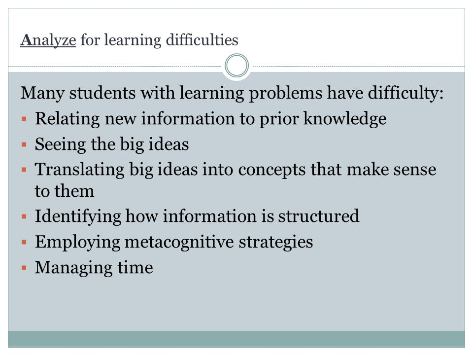 Analyze for learning difficulties
