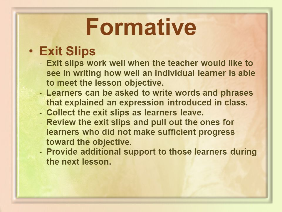 Formative Exit Slips.