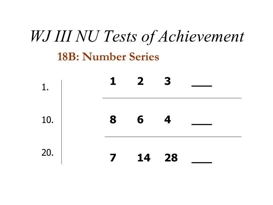 WJ III NU Tests of Achievement