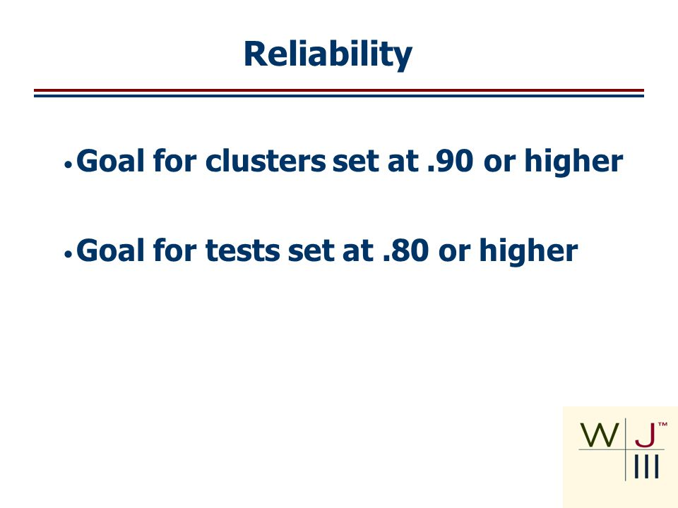 Reliability Reliability Goal for clusters set at .90 or higher