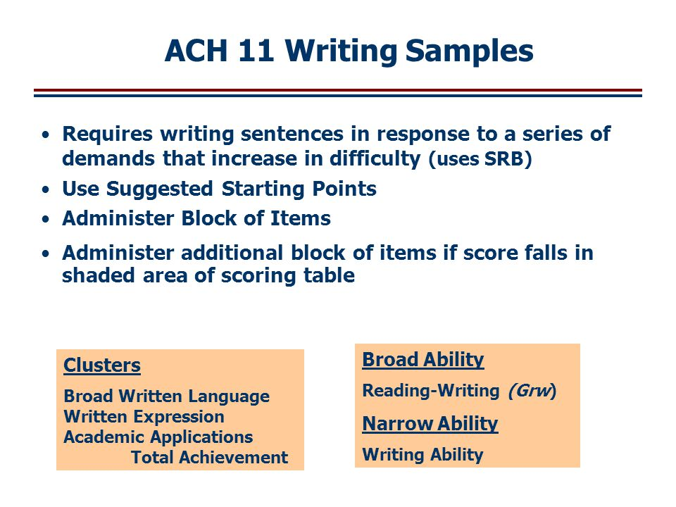 ACH 11 Writing Samples Requires writing sentences in response to a series of demands that increase in difficulty (uses SRB)