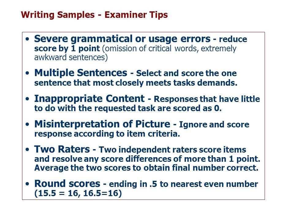 Writing Samples - Examiner Tips
