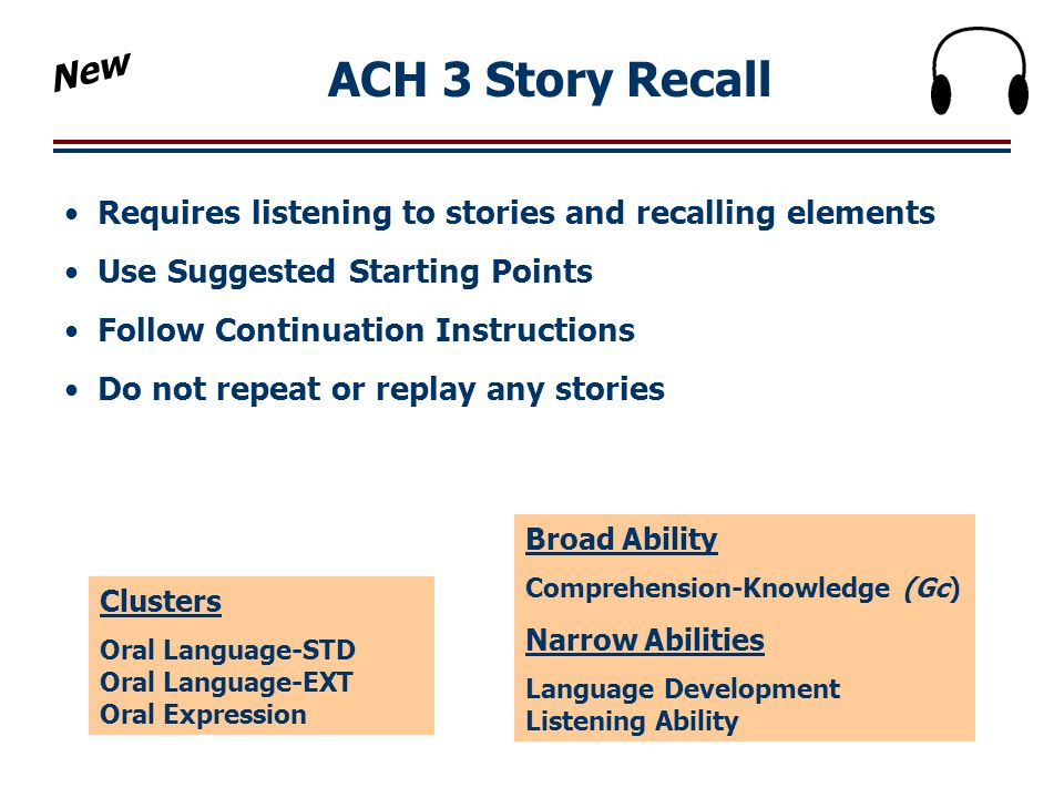 New ACH 3 Story Recall. Requires listening to stories and recalling elements. Use Suggested Starting Points.