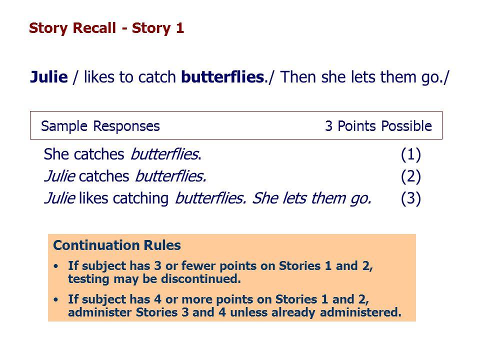 She catches butterflies. (1) Julie catches butterflies. (2)