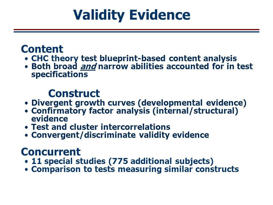 Validity Evidence Content Construct Concurrent