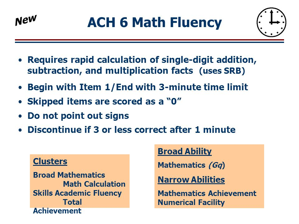 New ACH 6 Math Fluency. Requires rapid calculation of single-digit addition, subtraction, and multiplication facts (uses SRB)