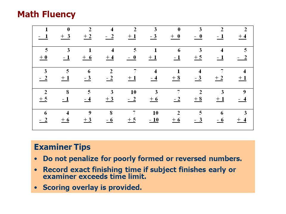 Math Fluency Examiner Tips