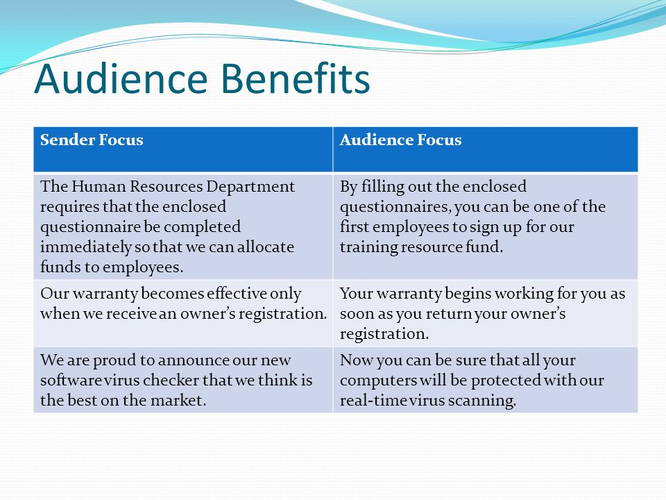 Audience Benefits Sender Focus Audience Focus