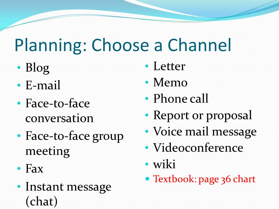 Planning: Choose a Channel